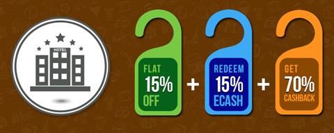 Flat 15% OFF + 70% cashback